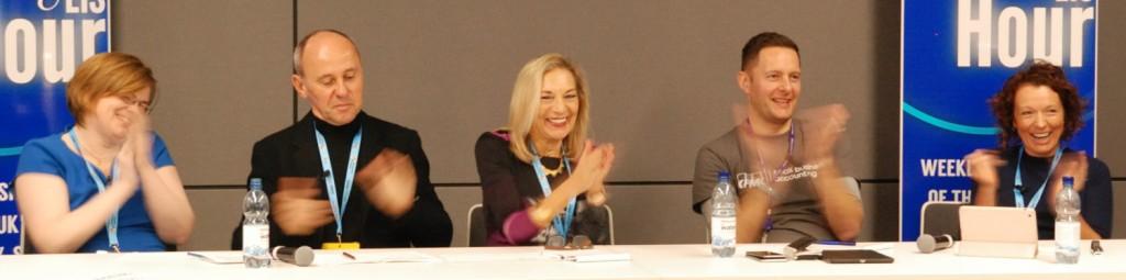 Panel laughing